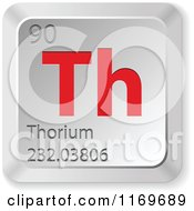 Clipart Of A 3d Red And Silver Thorium Chemical Element Keyboard Button Royalty Free Vector Illustration