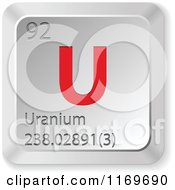 Clipart Of A 3d Red And Silver Uranium Chemical Element Keyboard Button Royalty Free Vector Illustration