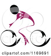Clipart Of A Black And Purple Cyclist Royalty Free Vector Illustration