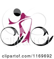 Clipart Of A Black And Purple Cyclist On A Bike Royalty Free Vector Illustration