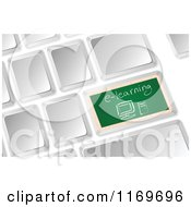 Clipart Of A 3d Computer Keyboard With A Chalkboard E Learning Button Royalty Free Vector Illustration
