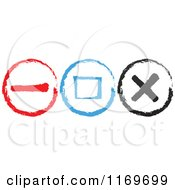 Clipart Of Painted Red Blue And Black Web Buttons Royalty Free Vector Illustration