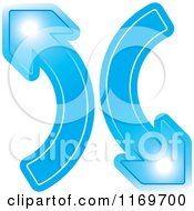 Clipart Of A Two Blue Arrows Going Up And Down Royalty Free Vector Illustration
