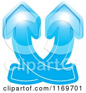 Clipart Of A Two Blue Arrows Crossing And Going Up Royalty Free Vector Illustration