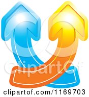 Clipart Of Blue And Orange Arrows Crossing And Going Up Royalty Free Vector Illustration by Lal Perera