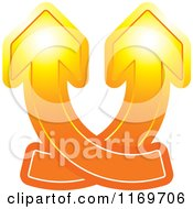 Clipart Of Two Orange Arrows Crossing And Going Up Royalty Free Vector Illustration