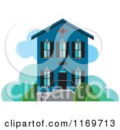 Clipart Of A Blue Two Story House Or Building Royalty Free Vector Illustration