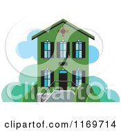 Clipart Of A Green Two Story House Or Building Royalty Free Vector Illustration