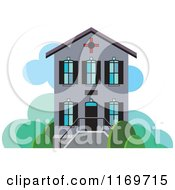 Clipart Of A Gray Two Story House Or Building Royalty Free Vector Illustration