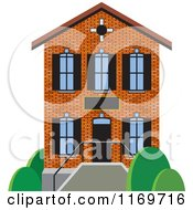 Clipart Of A Brick Two Story House Or Building Royalty Free Vector Illustration