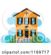 Clipart Of An Orange Two Story House Or Building Royalty Free Vector Illustration