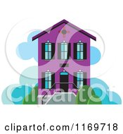 Clipart Of A Purple Two Story House Or Building Royalty Free Vector Illustration