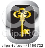 Clipart Of A Black And Chrome Icon With A Gold Skeleton Key Royalty Free Vector Illustration by Lal Perera