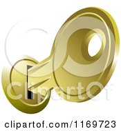 Clipart Of An Inserted Gold House Key Royalty Free Vector Illustration