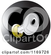 Clipart Of A Round Black Icon Of A Silver House Key In A Slot Royalty Free Vector Illustration by Lal Perera