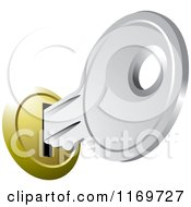 Clipart Of A Silver House Key In A Slot Royalty Free Vector Illustration by Lal Perera