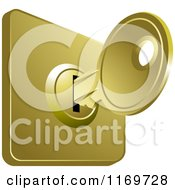 Clipart Of A House Key In A Slot Royalty Free Vector Illustration