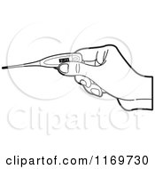 Clipart Of A Black And White Hand Holding A Digital Thermometer Royalty Free Vector Illustration by Lal Perera
