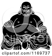 Clipart Of A Black And White Laughing Buddha Royalty Free Vector Illustration