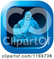 Clipart Of A Blue Square Laughing Buddha Icon Royalty Free Vector Illustration