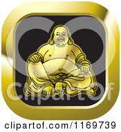 Clipart Of A Gold Square Laughing Buddha Icon Royalty Free Vector Illustration