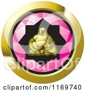 Clipart Of A Round Pink And Gold Laughing Buddha Icon Royalty Free Vector Illustration