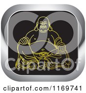 Clipart Of A Gold And Silver Square Laughing Buddha Icon Royalty Free Vector Illustration