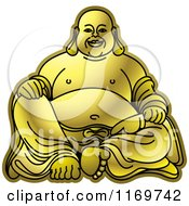 Clipart Of A Gold Laughing Buddha Royalty Free Vector Illustration