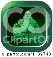Clipart Of A Green Square Laughing Buddha Icon Royalty Free Vector Illustration