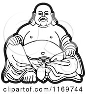 Clipart Of A Black And White Laughing Buddha 2 Royalty Free Vector Illustration