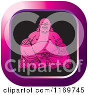 Pink Square Laughing Buddha Icon
