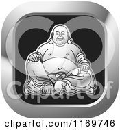 Clipart Of A Silver And Black Square Laughing Buddha Icon Royalty Free Vector Illustration