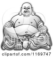 Clipart Of A Silver Laughing Buddha Royalty Free Vector Illustration