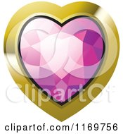 Clipart Of A Heart Shaped Pink Diamond Or Gemstone With A Gold Frame Royalty Free Vector Illustration