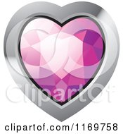 Clipart Of A Heart Shaped Pink Diamond Or Gemstone With A Silver Frame Royalty Free Vector Illustration
