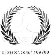 Clipart Of A Black And White Olive Wreath Royalty Free Vector Illustration by Lal Perera #COLLC1169768-0106