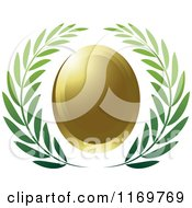 Clipart Of A Green Olive Branch Wreath And Gold Oval Royalty Free Vector Illustration