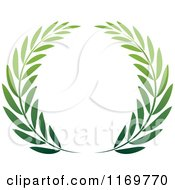 Clipart Of A Green Olive Branch Wreath Royalty Free Vector Illustration