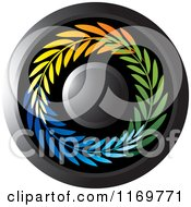 Clipart Of A Round Black Icon With Colorful Olive Branches Royalty Free Vector Illustration
