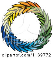 Clipart Of A Colorful Olive Branch Wreath Royalty Free Vector Illustration