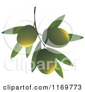Clipart Of Green Olives On A Branch Royalty Free Vector Illustration