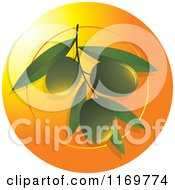 Clipart Of Green Olives On A Branch Over An Orange Circle Royalty Free Vector Illustration