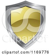 Clipart Of A Gold And Chrome Shield Royalty Free Vector Illustration