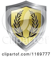 Clipart Of A Gold And Chrome Shield With Olive Branches Royalty Free Vector Illustration