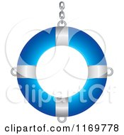 Clipart Of A Blue And White Life Buoy With A Chain Royalty Free Vector Illustration by Lal Perera
