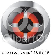 Clipart Of A Round Icon With A Red And Silver Life Buoy Royalty Free Vector Illustration by Lal Perera