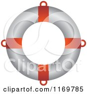 Clipart Of A Red And White Life Buoy Royalty Free Vector Illustration