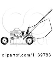 Clipart Of A Black And White Push Lawn Mower Royalty Free Vector Illustration