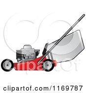 Clipart Of A Red Push Lawn Mower Royalty Free Vector Illustration