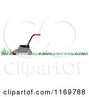 Clipart Of A Black And Red Push Lawn Mower On Grass Royalty Free Vector Illustration